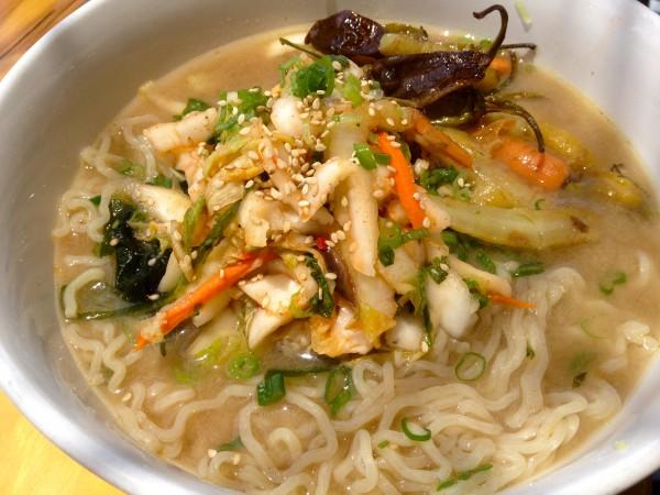 Charred Kimchi Ramen Bowl (vegan style)