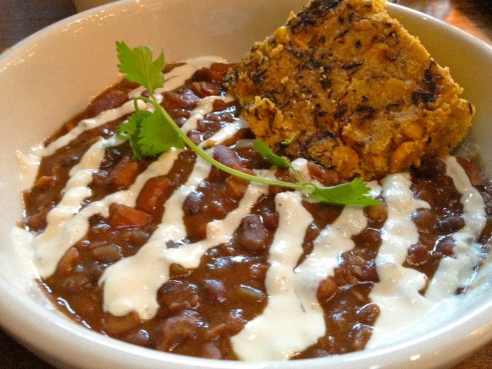 Casas Tempeh Chili with Tofu Crema and Cornbread