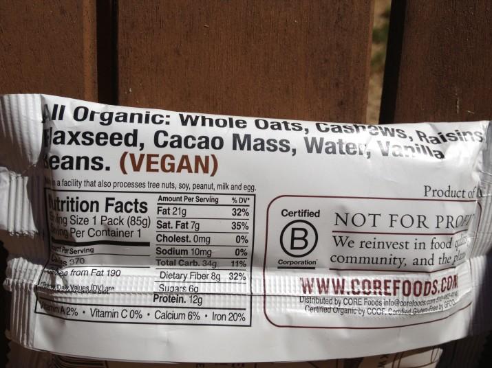 Ingredients CORE Defender Meal Bar