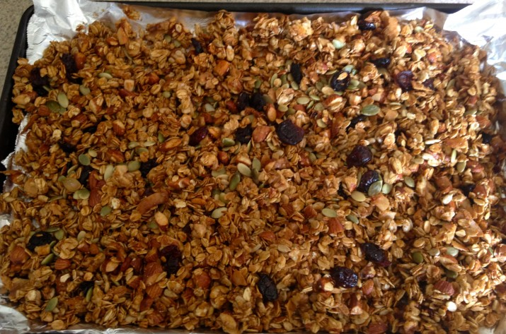 Vegan Granola on Cookie Sheet