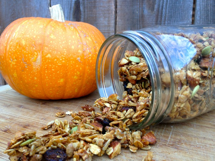 Vegan Granola Falling Out of Mason Jar