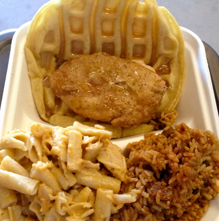Vegan Fried Chickun Waffle Sandwich with Macaroni and Cheese and Jambalaya