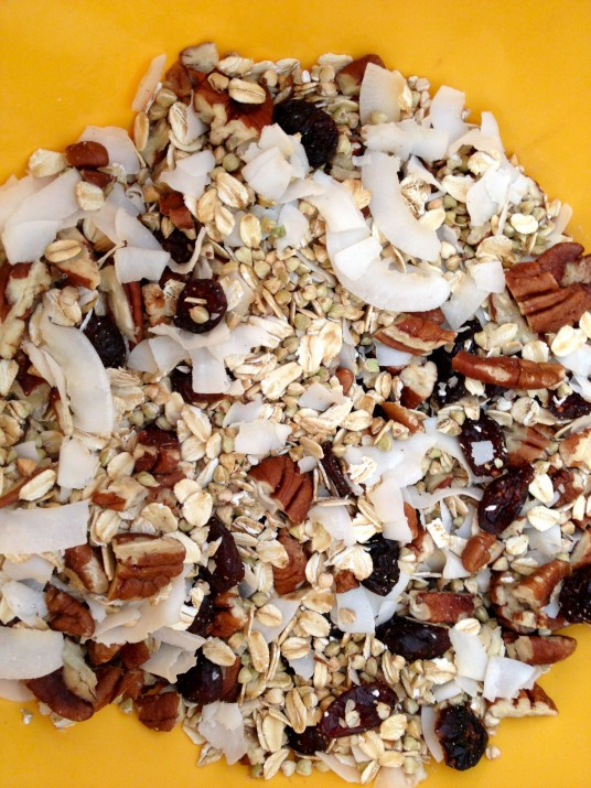Dry Granola Ingredients in Bowl