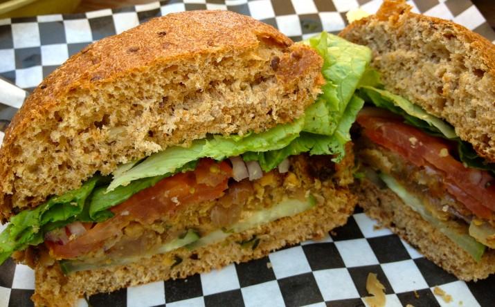 Veggie Burger Cut in Half