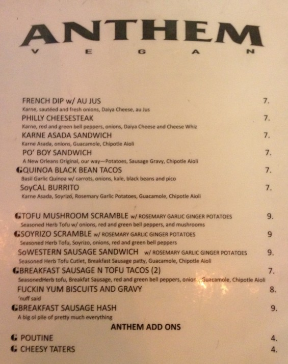 Anthem Vegan Menu