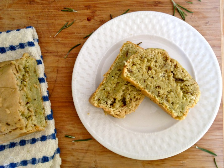 Slices of Vegan Rosemary Avocado Quick Bread