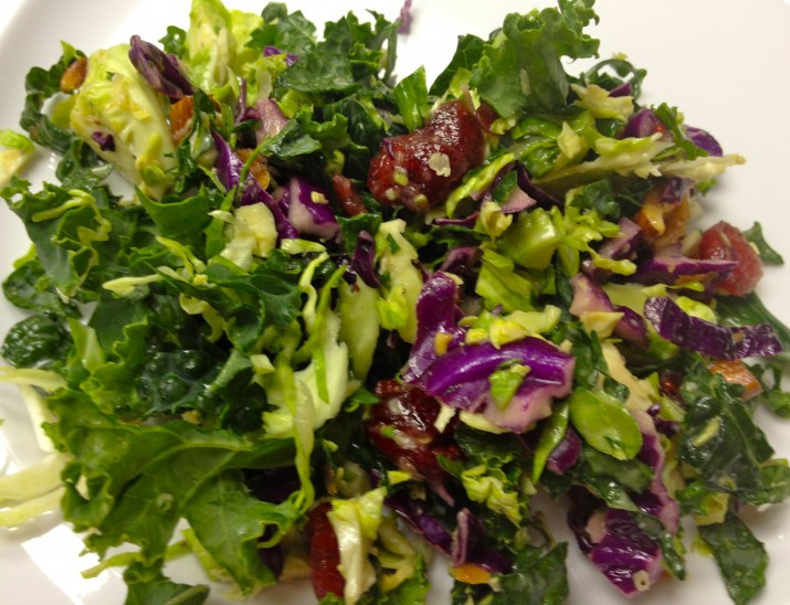 Plate of Kale and Brussels Sprout Salad