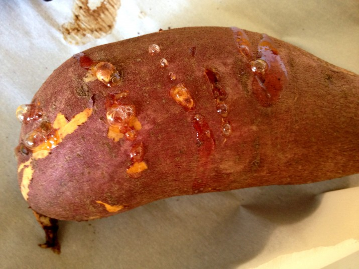 Roasted Sweet Potato on Parchment Paper