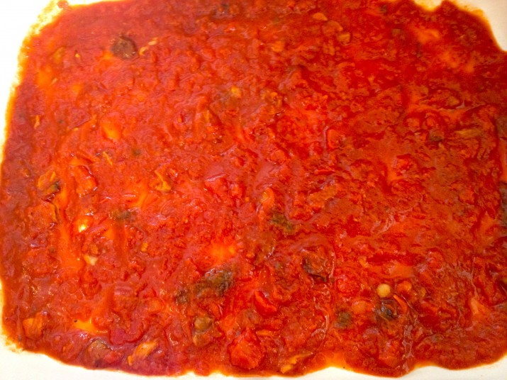 1st Layer: Tomato Sauce