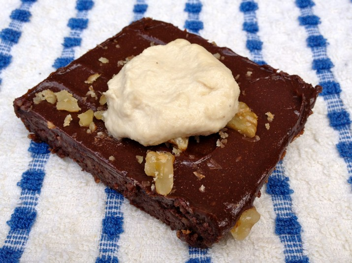 Vegan Whipped Cream on Brownie
