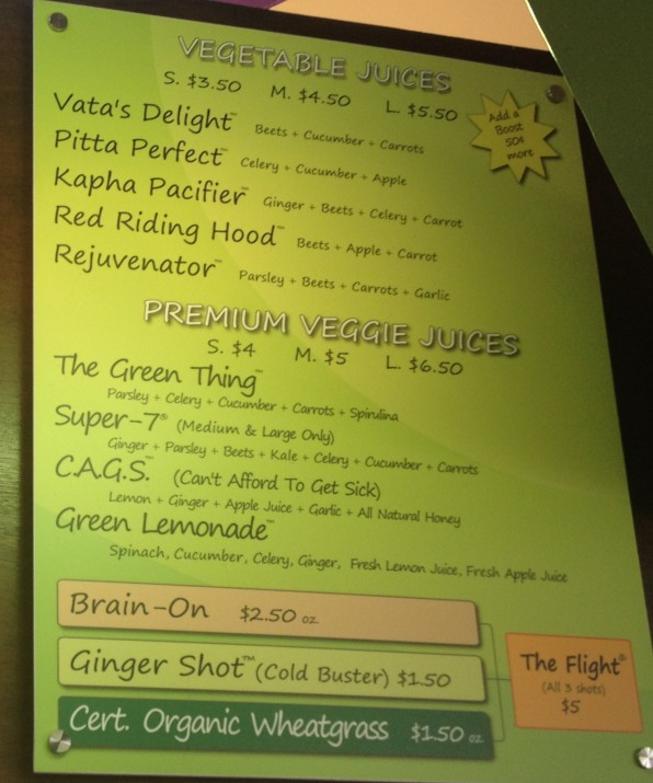 Juice Kaboose Juice Menu