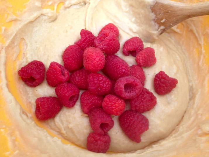 Vegan Muffin Batter with Raspberries