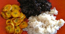 Coconut Rice, Black Beans, and Fried Plantains