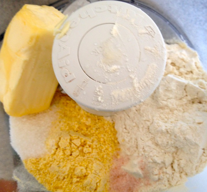 Vegan Cornmeal Crust Ingredients in Food Processor