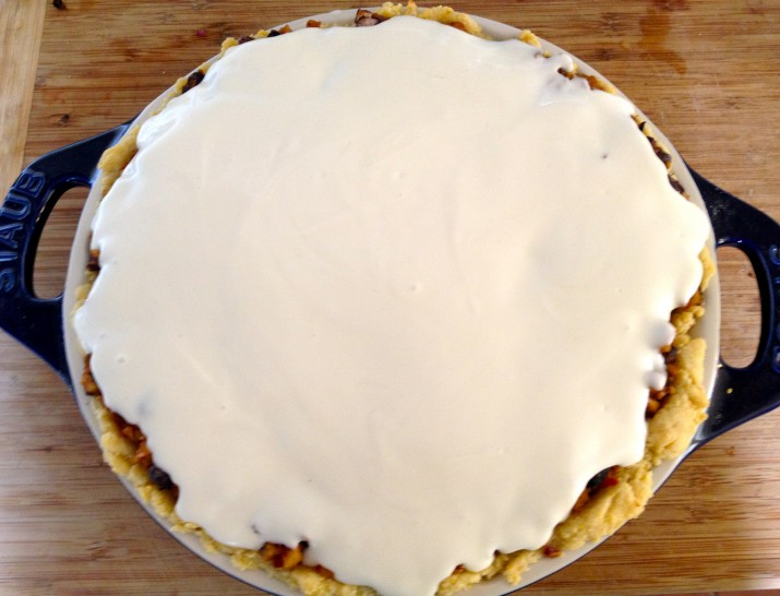 Vegan Sour Cream Layer on Taco Pie