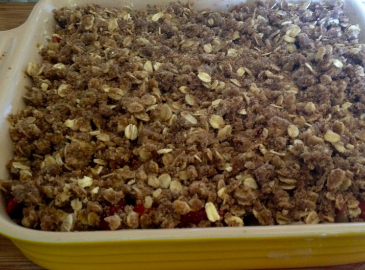 Vegan Strawberry Rhubarb Crisp in Pan