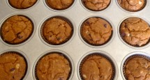 Vegan Pumpkin Banana Chocolate Chip Muffins in Pan