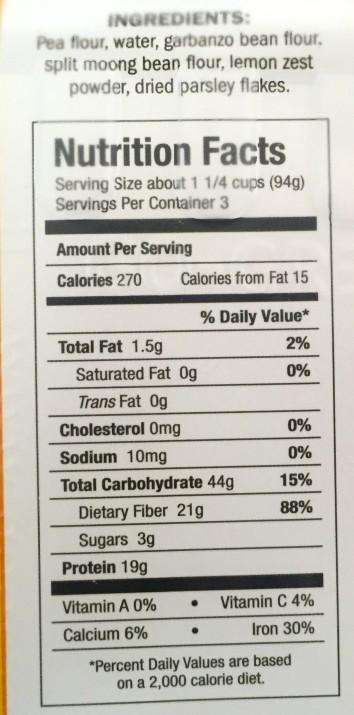 Vegan Bisogno Pasta Nutrition Panel
